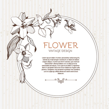 hand drawn flower vintage frame vector