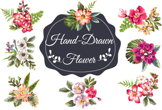 hand drawn flower vintage vector