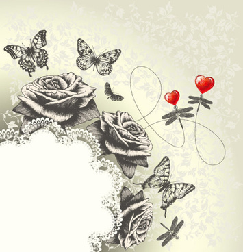 hand drawn flower with butterflies and dragonflies vector set