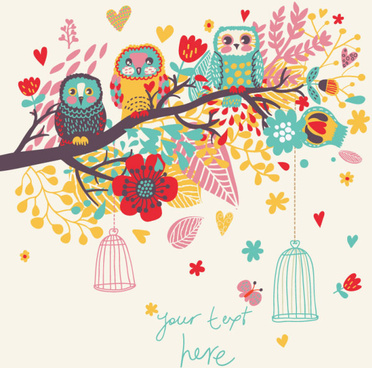 hand drawn flowers and birds background vector