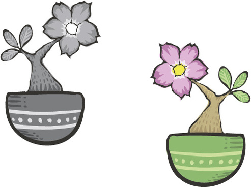 hand drawn flowers in pot vector