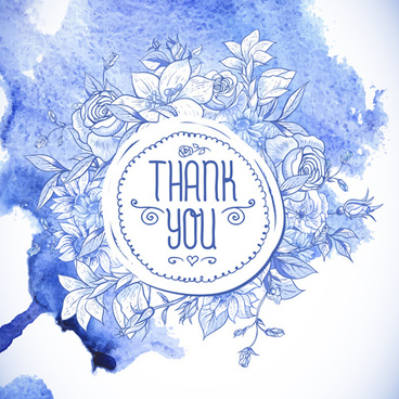 hand drawn flowers with watercolor background vector