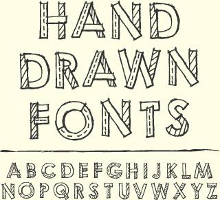 hand drawn fonts creative vector
