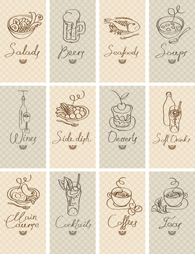 hand drawn food cards design