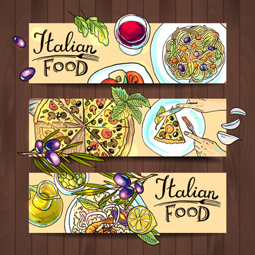 hand drawn food vector banners set