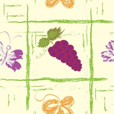 hand drawn fruit with butterfly seamless pattern vector