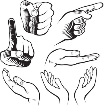 hand drawn gesture design elements vector