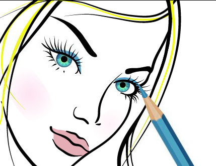hand drawn girl makeup vector