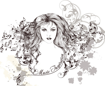 hand drawn girl with music note vector graphics