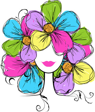 hand drawn girls with flowers vector