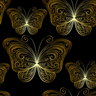hand drawn golden butterfly vector