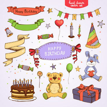 hand drawn happy birthday elements vector