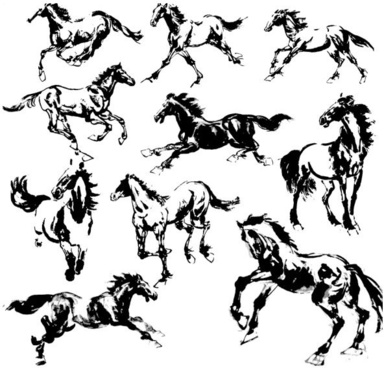 hand drawn horse vectors set