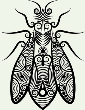 hand drawn housefly decoration pattern vector