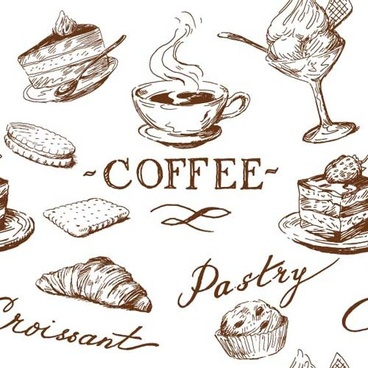 hand drawn illustrations food elements vector
