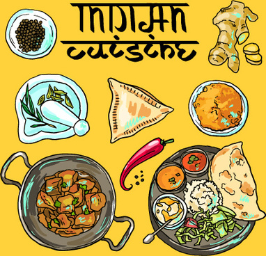 hand drawn indian food elements vector