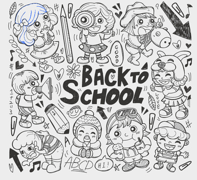 hand drawn kids with school elements vector