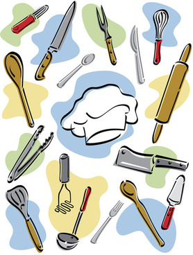 Hand Drawn Kitchen Tools Design Vector