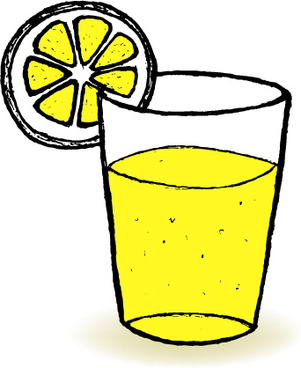 hand drawn lemonade with glass cup vector
