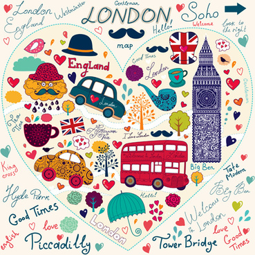 hand drawn london romantic elements vector