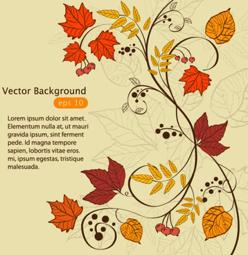 hand drawn maple leaf elements vector background