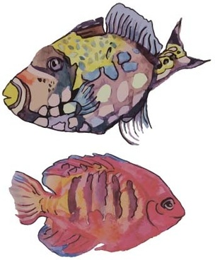 hand drawn marine fish watercolor vector
