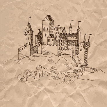 hand drawn medieval buildings and crumpled paper vector