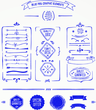 hand drawn menu blue design elements