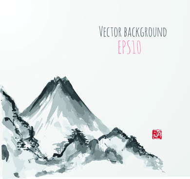 hand drawn mountain scenery vector background