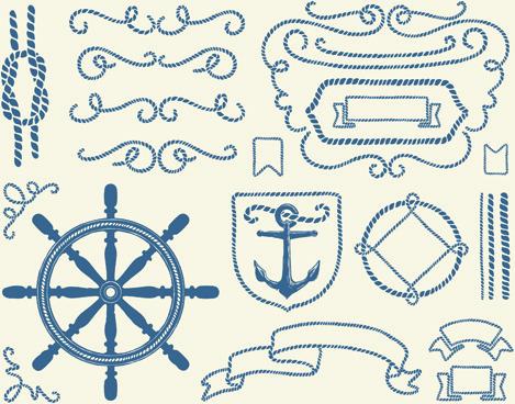hand drawn nautical elements vector