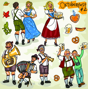 hand drawn oktoberfest and people vector