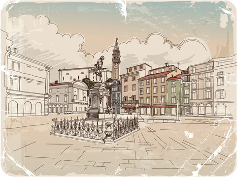 hand drawn old town vector graphics