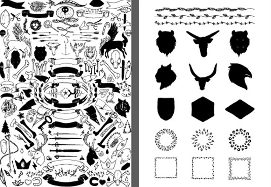 hand drawn ornament elements set