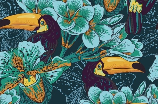 hand drawn parrot with flower vector