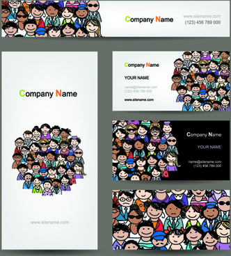 hand drawn people business card vector