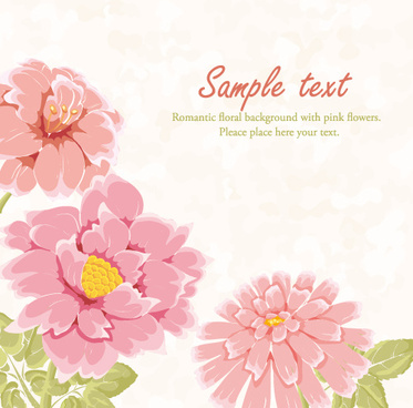hand drawn pink flower background vector