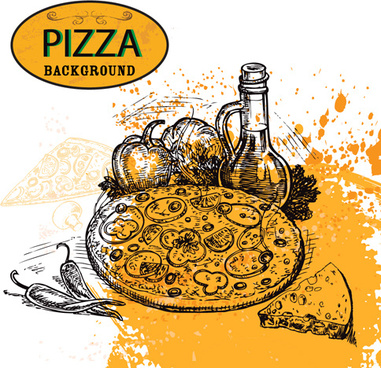 hand drawn pizza sketch background vector