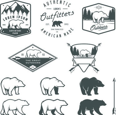 hand drawn polar bear logos vector