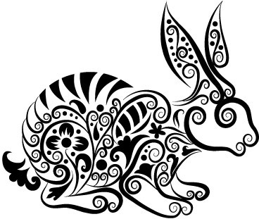 hand drawn rabbit decoration pattern vector