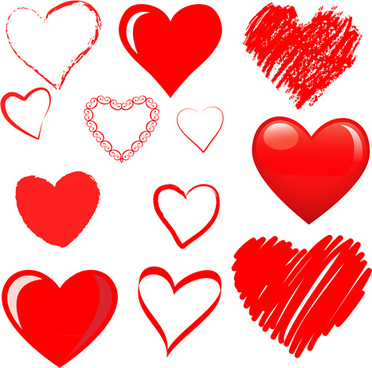 hand drawn red heart vector graphics