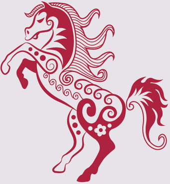 hand drawn red horse decoration pattern vector