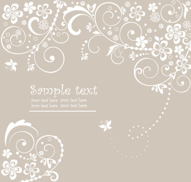 hand drawn retro flower decoration background vector