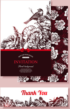 hand drawn retro flower with bird wedding invitations vector
