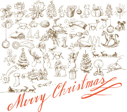 hand drawn retro merry christmas accessories vector art