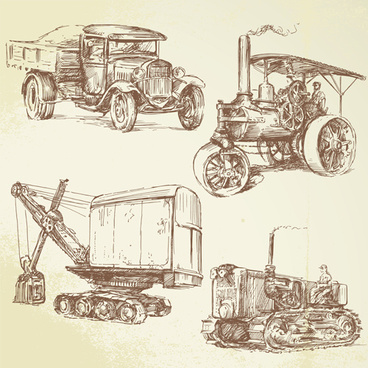 hand drawn retro transport elements vector