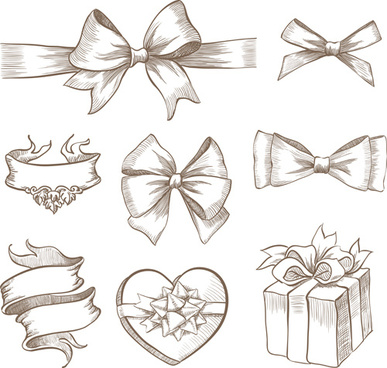 hand drawn ribbon bow and gift boxes vector