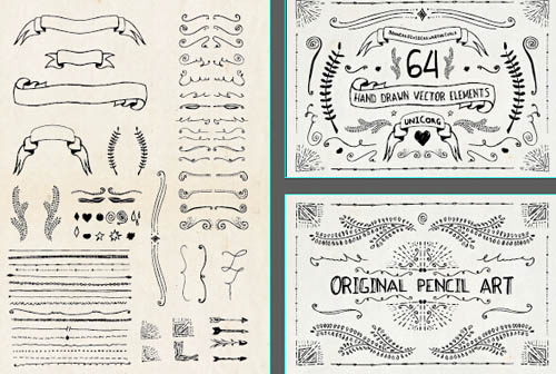 hand drawn ribbon with ornaments vector