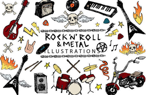 hand drawn rock n roll vector illustrations