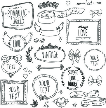 2bd5a339c45 hand drawn romantic frame with ornaments elements vector