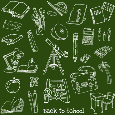 hand drawn school elements vector set